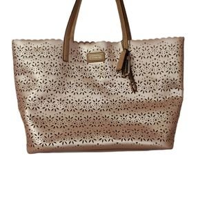 Coach metro pink eyelet leather tote bag